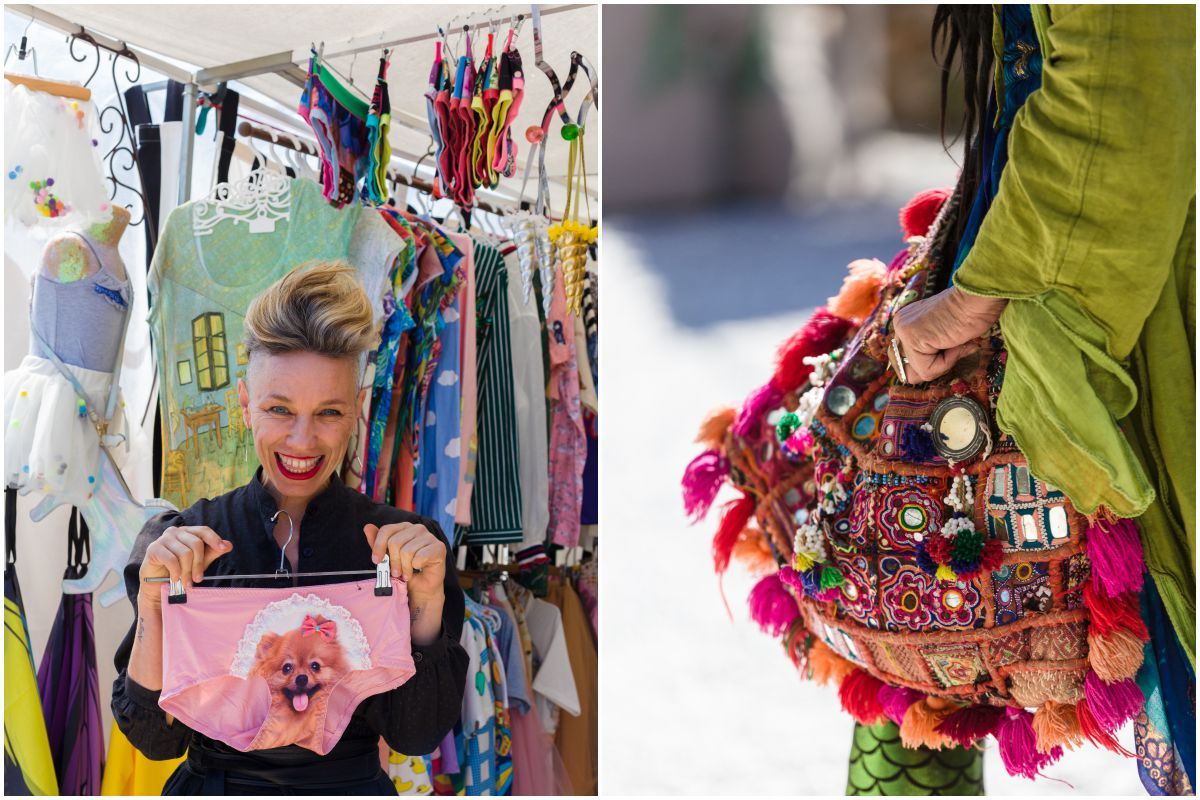 Una chica muestra unas bragas con diseño de perro y un bolso hippie en el mercadillo de Las Dalias, Ibiza.