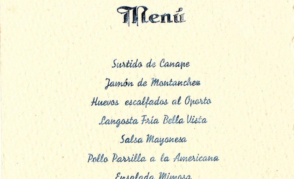 Menú que degustó la Legión Cóndor en el hotel María Cristina el 7 de agosto de 1937.