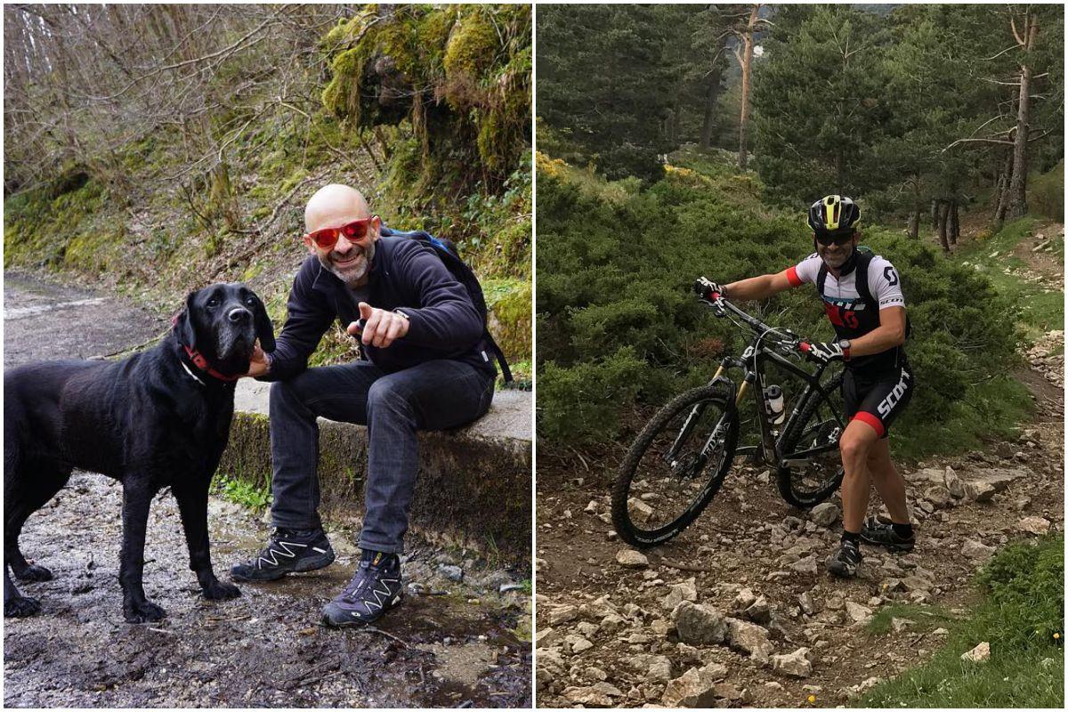 El presentador Antonio Lobato con su perro Nero haciendo la ruta del Alba, en Asturias, y practicando MBT en la Dehesa, en Cercedilla. Fotos: Instagram