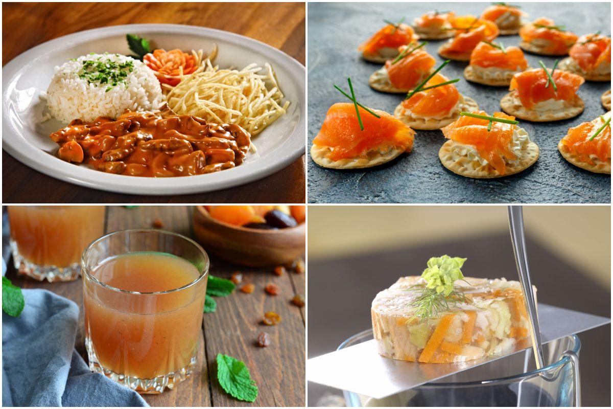 Un plato del clásico buey a la Stroganoff, los típicos blinis, salmón en áspic y la bebida kissel pondrán el acento ruso en tu mesa. Fotos: Shutterstock.