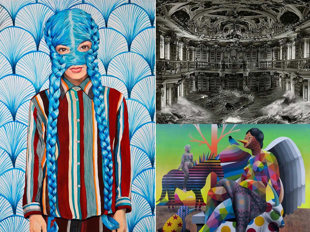 Fotomontaje con varias obras de las ferias de arte en Madrid.