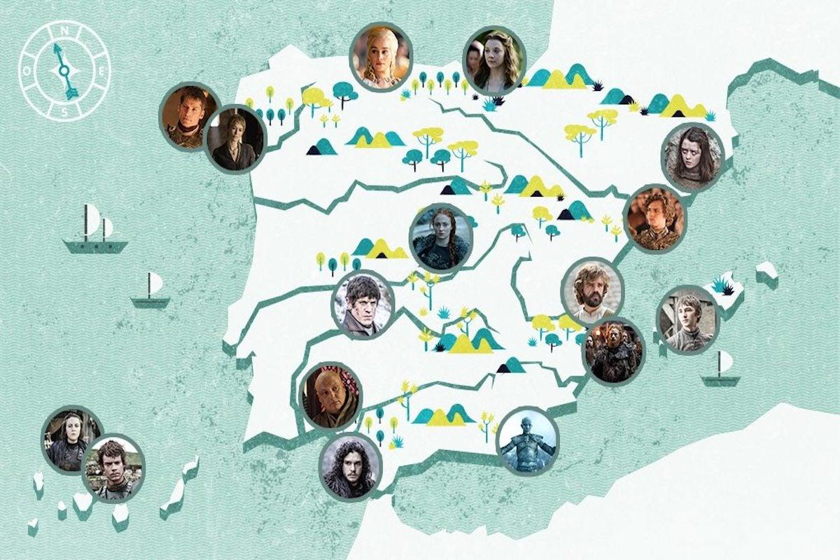 Mapa de España con los personajes de Juego de Tronos.