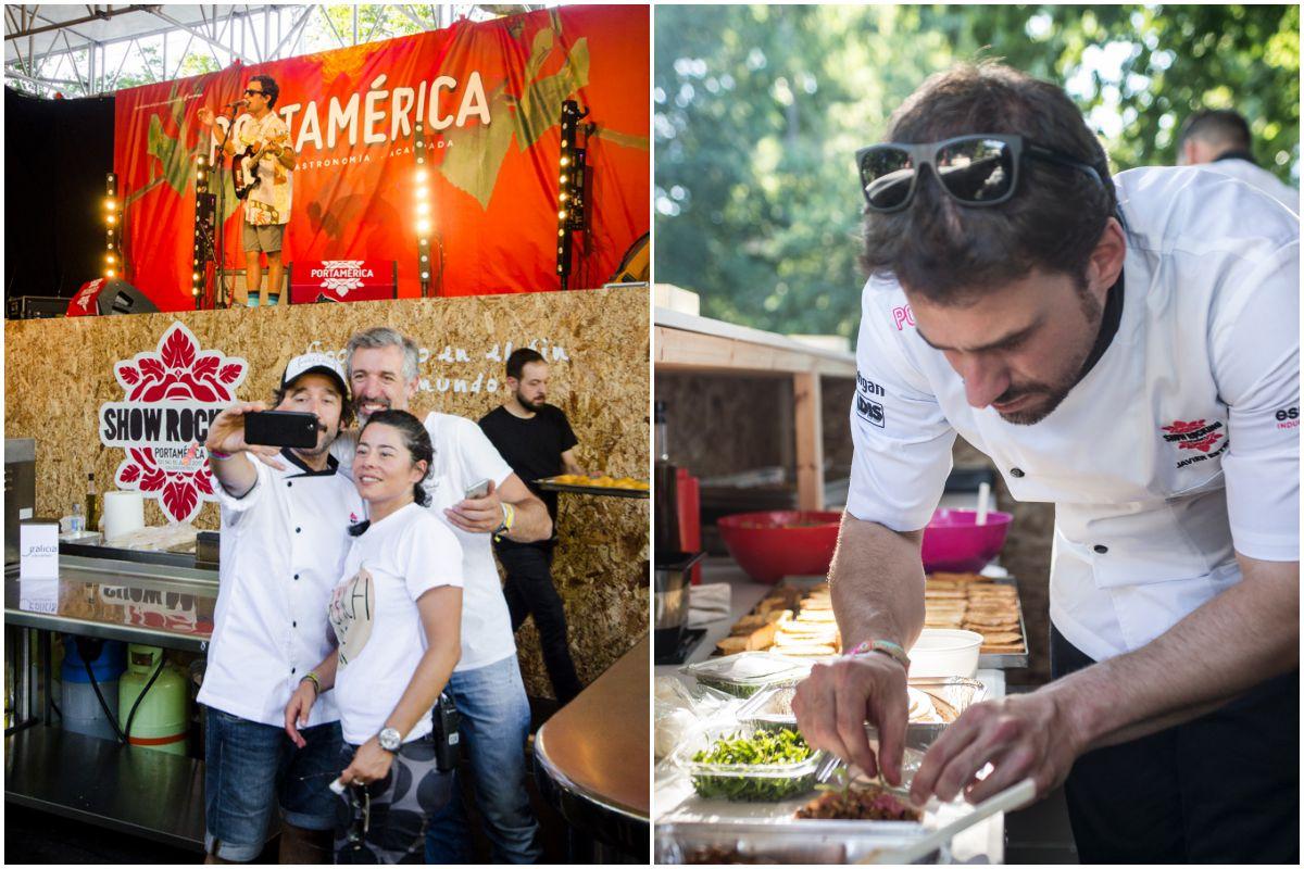 Los chefs Pepe Solla y Diego Guerrero, junto a Olalla Camaño de la organización del Festival PortAmérica 2017; y Javi Estévez de 'La Taquería'.