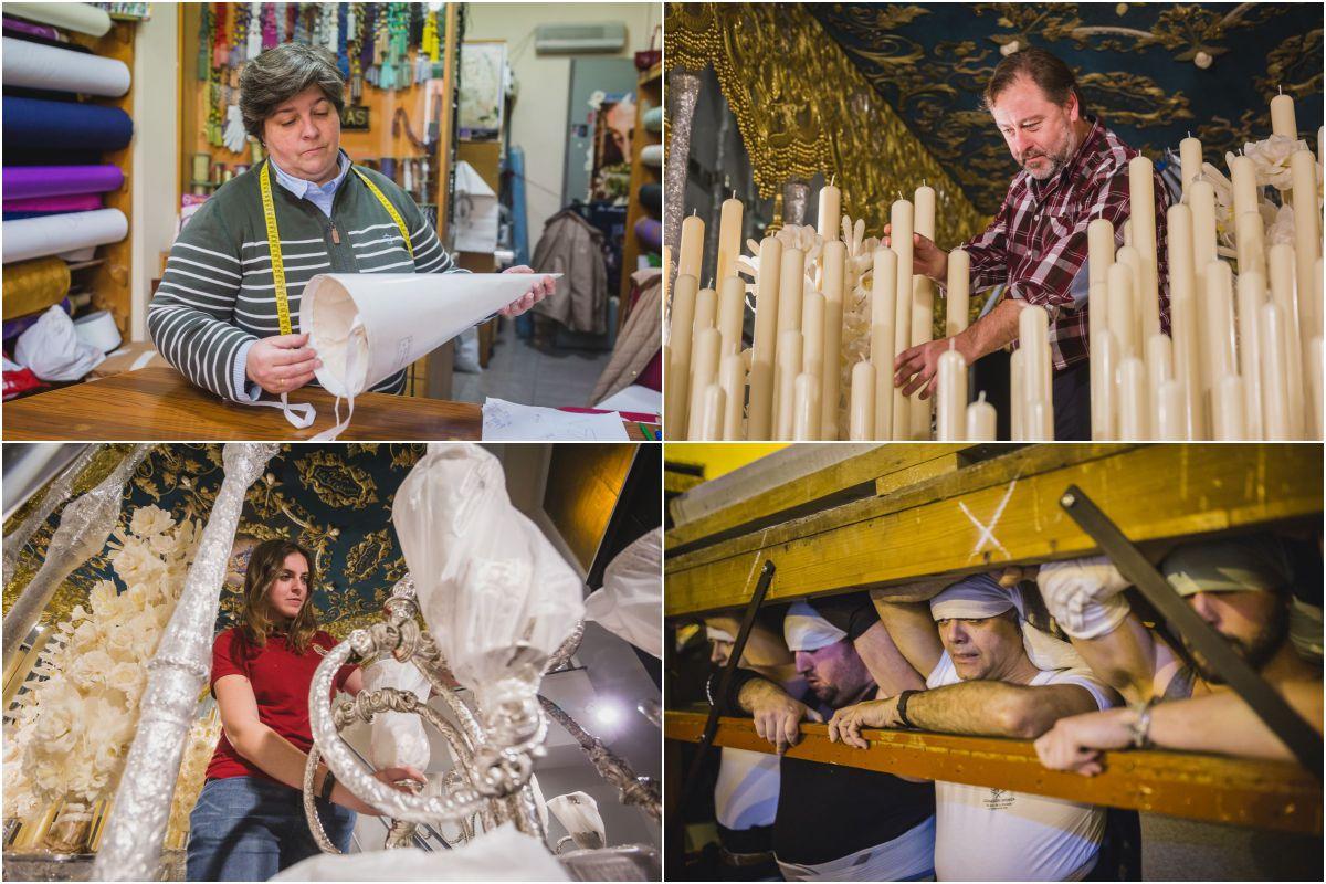 Manos artesanas (y apasionadas) que hacen posible la Semana Santa sevillana.