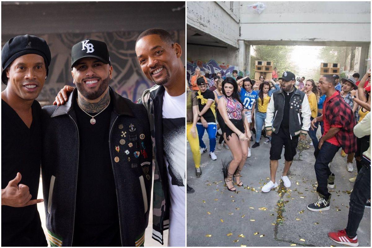 Ronaldinho, Nicky Jam y Will Smith y un momento de la grabación del videoclip de 'Live it up', la canción oficial del Mundial de Rusia.